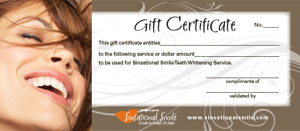 Purchase the sinsational smile system supplies for Dental gift certificate template